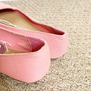 SO Shoes - SO Canvas Lemon Ballet Flats Pink Size 8